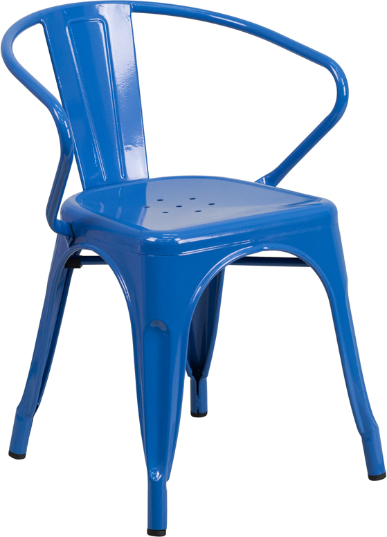 Blue Outdoor Metal Retro Industrial Arm Chair