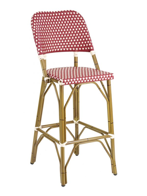 French Rattan Outdoor Bistro Bar Stool w/ Bamboo Frame