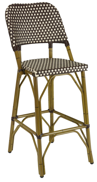 French Rattan Outdoor Bistro Bar Stool W Bamboo Frame