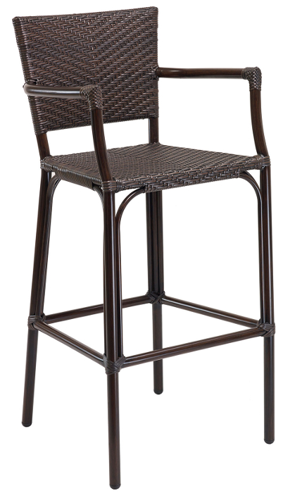 Dark Java Weave Outdoor Bar Stool with Arms