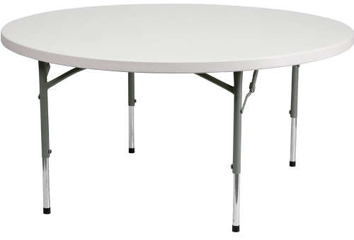 60 Inch Diameter Round Adjustable Height Plastic Folding Table