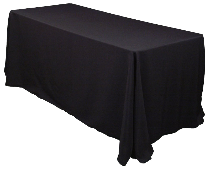 Rectangular Black Polyester Table Linen