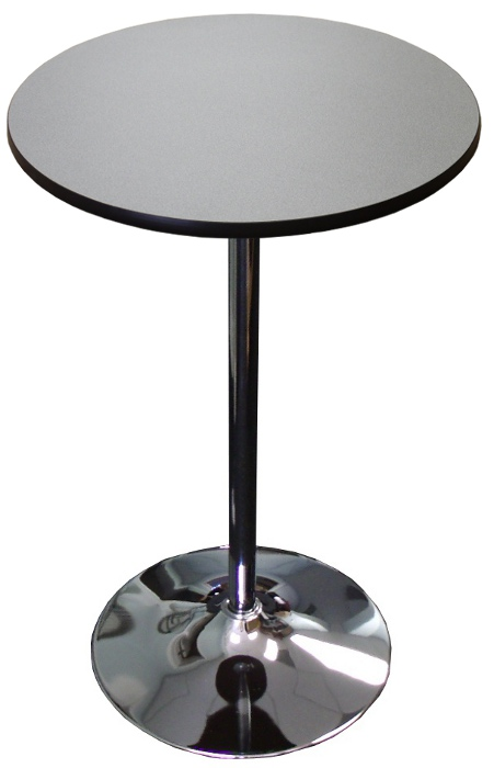 Round Highboy Table W Chrome Disc Base