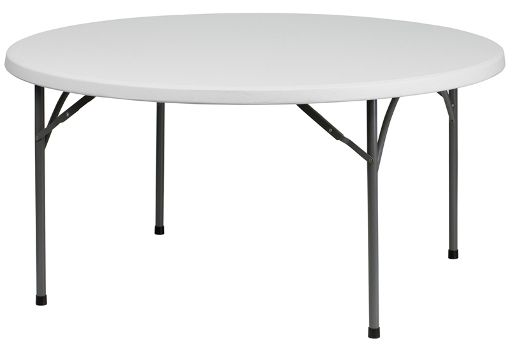 60 Inch Round Blow Molded Plastic Folding Table. Round White Granite.  Bottom View