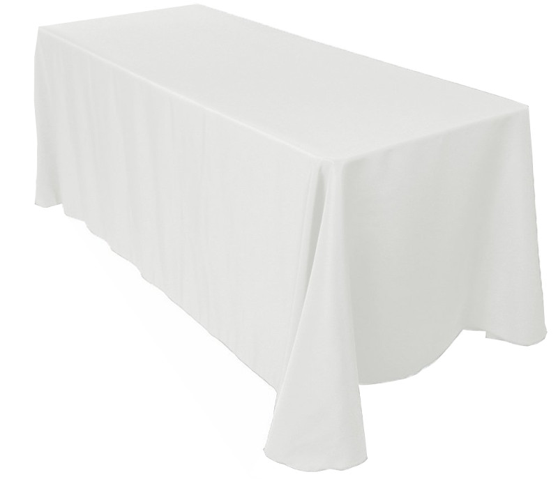 White Rectangular Polyester Table Linen