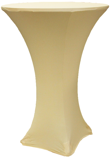 Champagne 30 Round x 42 Inch Tall Stretch Fitted Spandex Highboy Table Cover