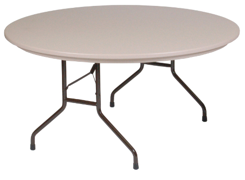 60 Diameter Round Heavy Duty Blow Molded Plastic Folding Table