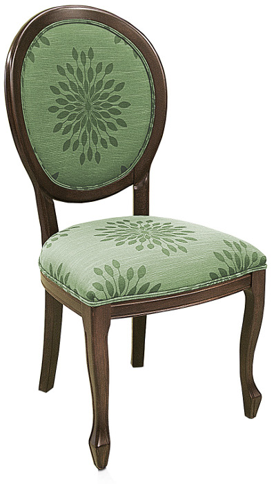 Cabriole Style Wood Restaurant Chair With Upholstered Seat