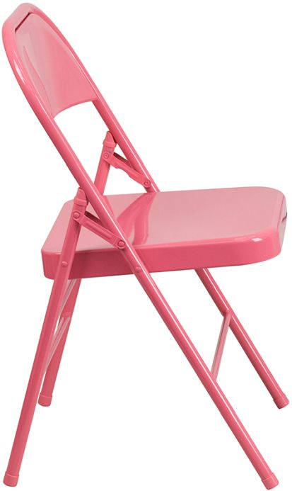 Pink Colorful Metal Commercial Folding Chair