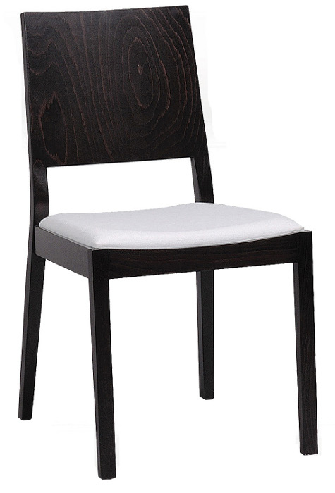 Contemporary Series Square Style Wood Dining Chair w/ Upholstered Seat