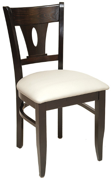 Wood Restaurant Chair w/ Oval Cutout Back and Upholstered Seat
