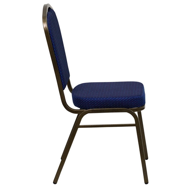 Royal Blue Fabric Crown Back Banquet Chair W Gold Vein Frame