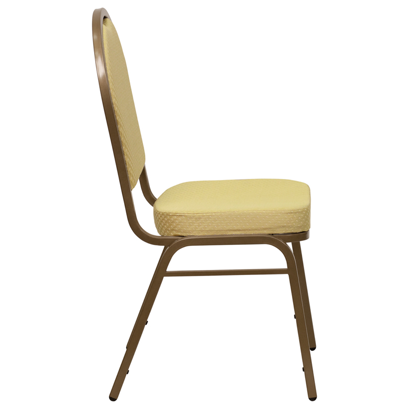 Beige Fabric Dome Back Banquet Chair W Gold Frame