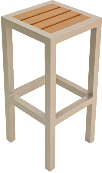 Square Backless Patio Bar Stool W Synthetic Teak Seat