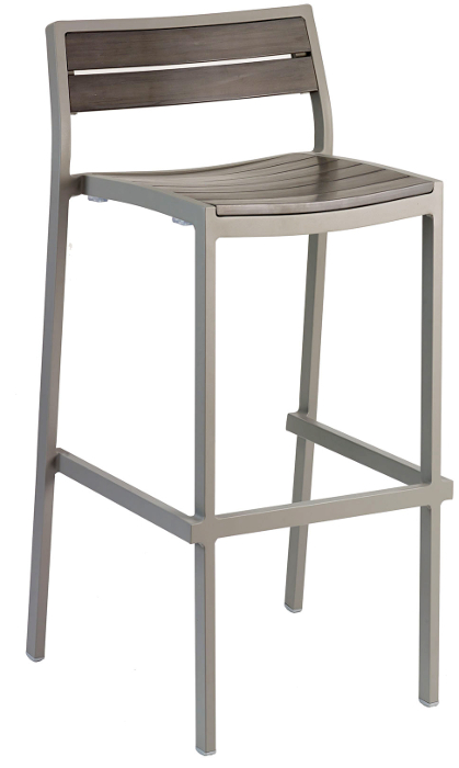 Outdoor Gray Synthetic Teak Bar Stool w/ Gray Frame