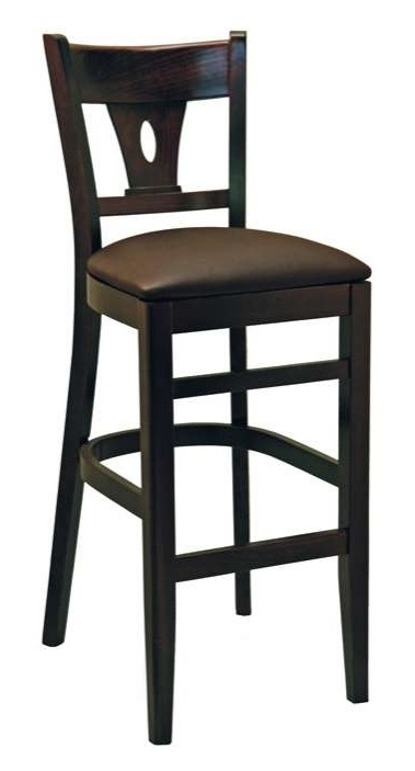 Wood Restaurant Bar Stool W Oval Cutout Back And