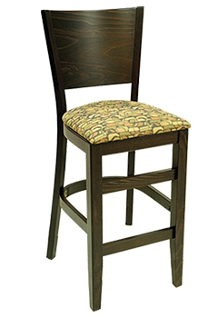 Contemporary Series Solid Back Wood Bar Stool with Upholstered Seat