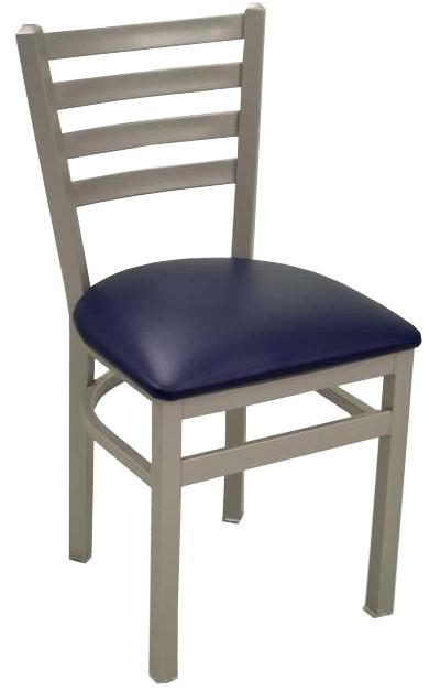 Silver Frame Metal Ladder Back Restaurant Chair