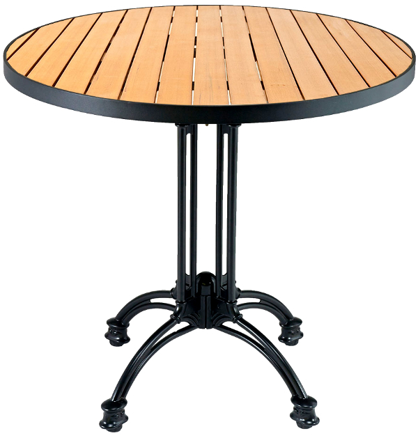 Round Outdoor Synthetic Teak Restaurant Table w/ Black Edge and Base