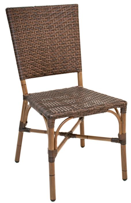 Outdoor Rattan Restaurant Side Chair Safari Brown Weave