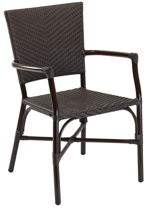 Java Rattan w/ Walnut Painted Frame Outdoor Restaurant Arm Chair