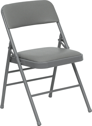 Gray Metal Folding Chair With Gray Vinyl Seat And Back