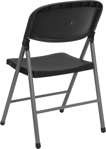 Black Folding Plastic Chair W Charcoal Frame