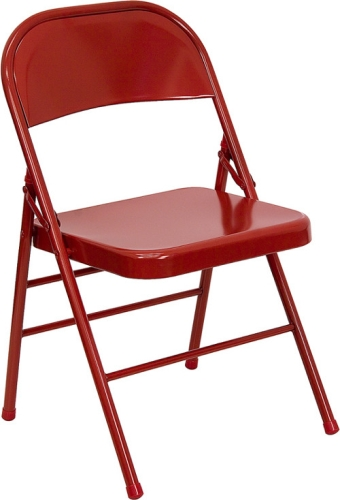 Red Metal Folding Chair With 18 Gauge Steel Frame
