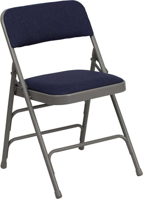 Blue Fabric Folding Chair. Side View