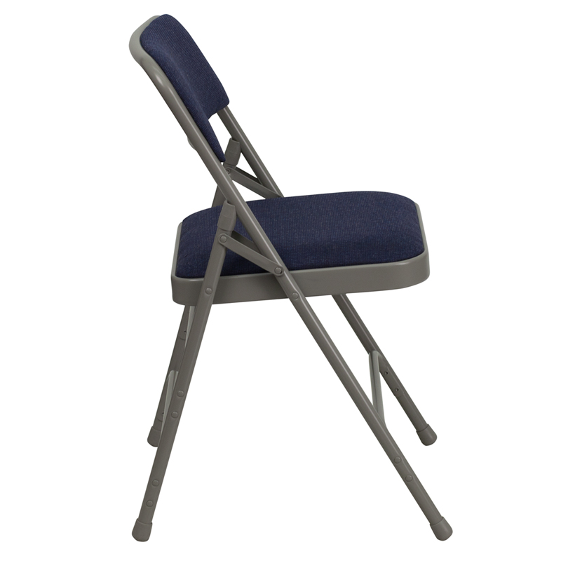 blue fabric metal folding chair w gray frame