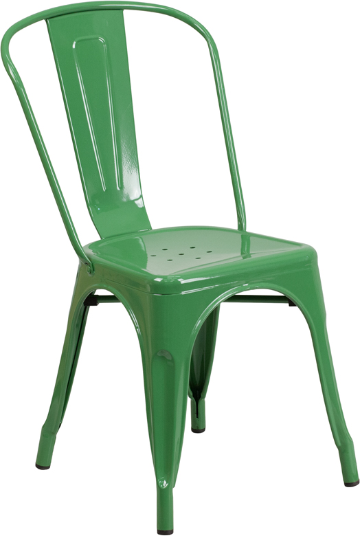 Green Outdoor Metal Retro Industrial Side Chair