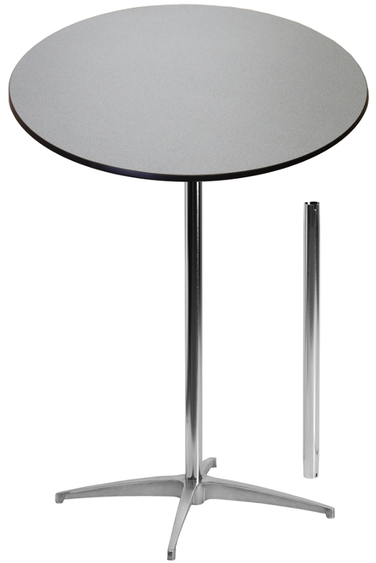 Shown in Grey Nebula:30 Round Laminate Top Banquet Highboy Table w/ 30 and 42 Inch Columns