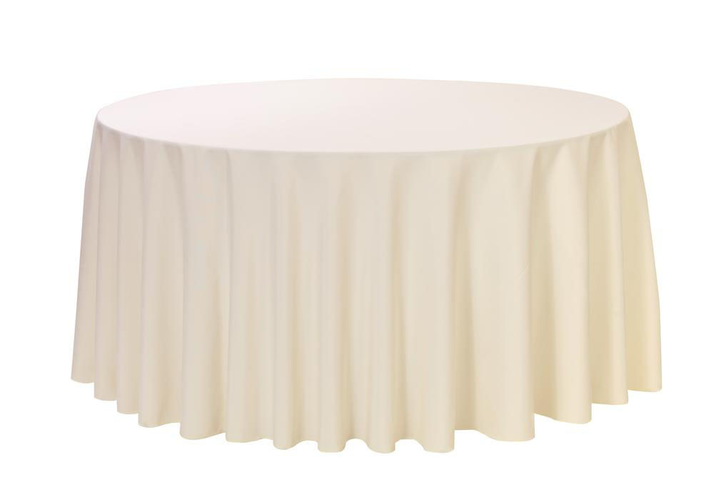 108 Inch Round Ivory Polyester Table Linen
