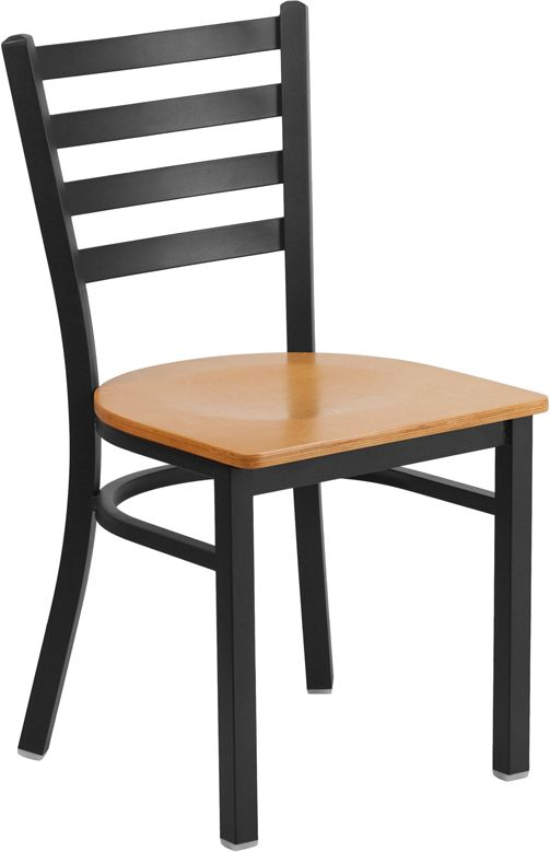Black Metal Ladder Back Restaurant Chair w/ Natural Wood Seat