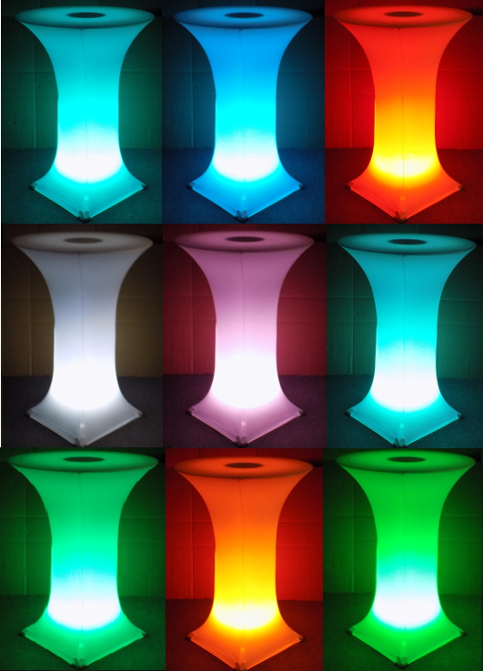 30 Inch Round Led Glow Spandex Knockdown Highboy Cocktail