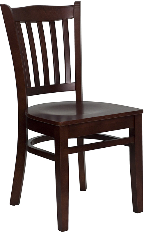 Mahogany Finished Restaurant Chair W Vertical Slats