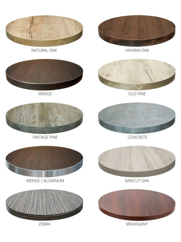 Round Marco Series Modern Indoor Restaurant Table W Black Base - Restaurant table tops and bases