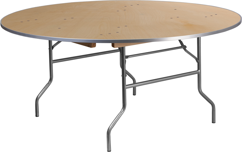 66 Inch Diameter Round Table with Metal Edge