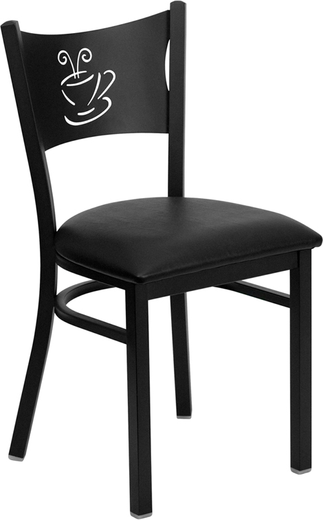 All Black Coffee Cup Back Chair w/ Padded Seat