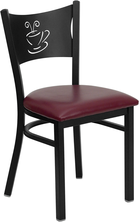 Coffee Cup Back Restaurant Chair W Burgundy Vinyl Seat
