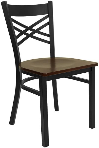 Mahogany Wood Seat Chair w Black Metal Frame : metal chairs040 from www.banquettablespro.com size 402 x 599 jpeg 25kB