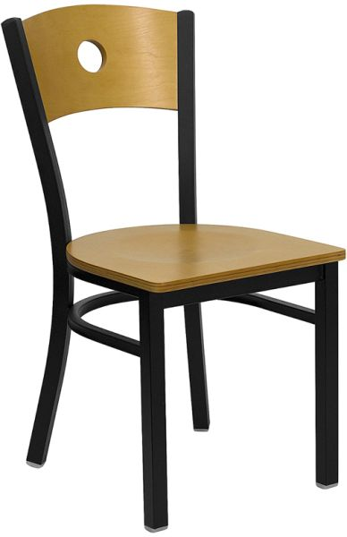 Wood Back and Seat Metal Chair w/ Circle Hole