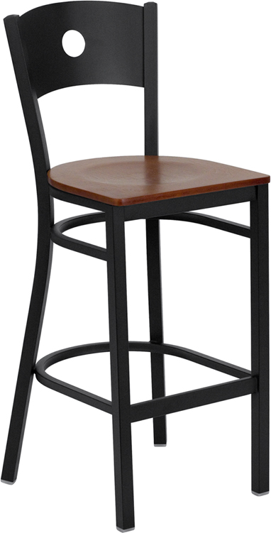 Cherry Seat Metal Stool Circle Hole Back