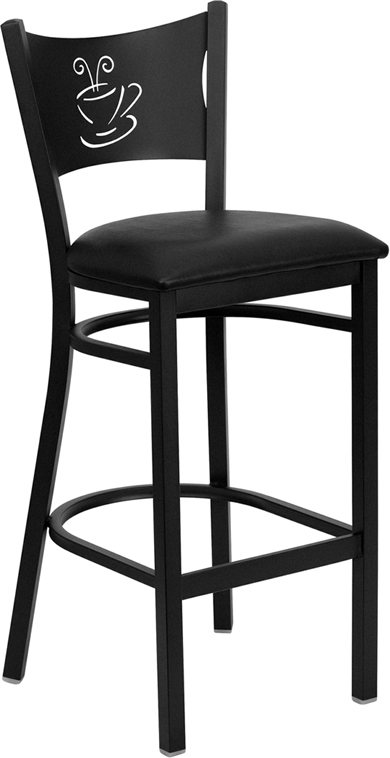 Coffee Cup Bar stool with black vinyl