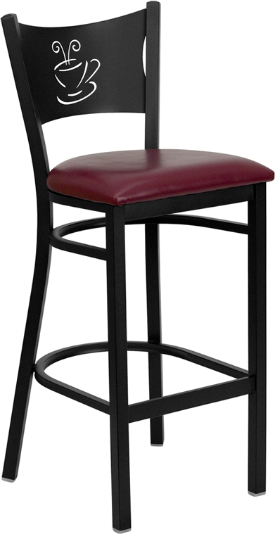Coffee Cup Back with burgundy seat