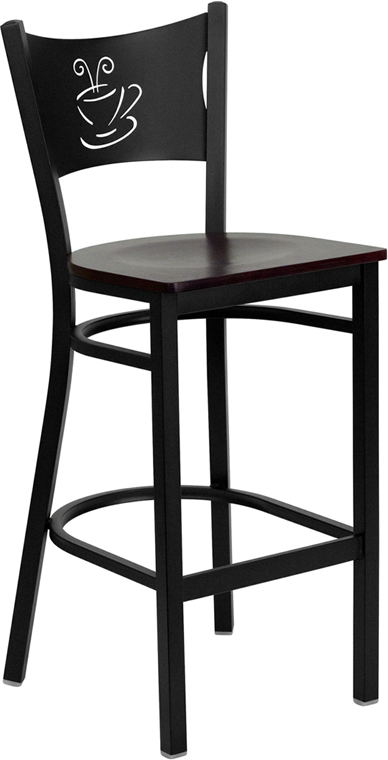 Coffee Cup Back Bar Stool W Mahogany Wood Seat