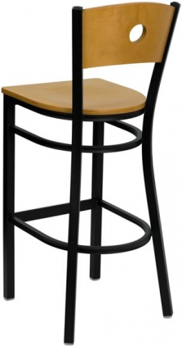 Wood Back And Seat Black Metal Bar Stool W Circle Hole