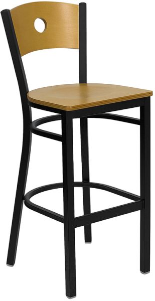 Wood seat and Back bar stool with circle hole