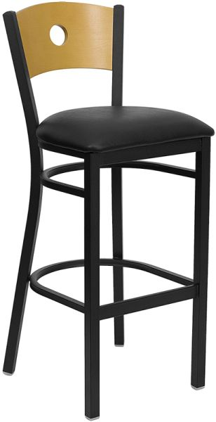 Circle Hole Back Bar Stool with black seat