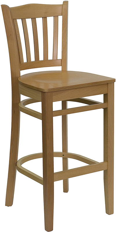 Natural Oak Wood Vertical Slat Back Bar Stool